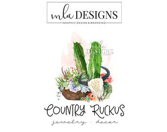 Round Logo - Watercolor Logo, Rustic Boutique Logo, Custom Logo, Boutique Floral Logo, Premade Logo, Custom Logo, Boho Logo