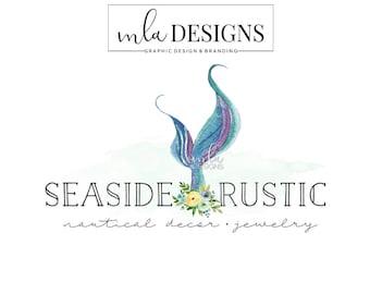 Mermaid Tail Logo - Ocean Logo, Nautical Logo, Watercolor Logo, Bohemian Logo, Premade Boho Logo, Boutique Logo, Flower Logo, Boutique Logo