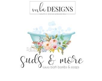 Bath Logo, Soap Maker Logo, Bath Bombs Logo Design, Boutique Logo, Spa Logo, Watercolor Logo