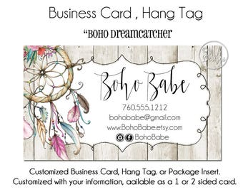 "Dreamcatcher Business Cards - ""Boho Dreamcatcher"", Dreamcatcher Hang Tag, Business Card, Boho Boutique, Business Card Template"