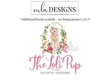 Dog Logo - Labradoodle Logo, Puppy Logo, Pet Sitter Logo, Boutique Watercolor Logo, Premade Logo, Custom Animal Logo, Premade Dog Logo