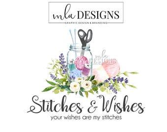Sewing Logo - Crochet Knitting Logo, Crafting Logo, Seamstress Logo, Boutique Watercolor Logo, Premade Logo, Custom Logo