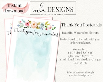 Thank You Postcard, Thank you Tags, Swing Tags, Package Inserts, Custom Marketing Branding, Logo Tags, Logo Hang Tags, Hang Tag Template