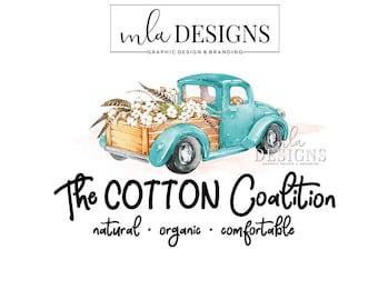 Blue Truck Logo, Vintage Truck Logo, Cotton Logo, Truck Premade Logo, Farm Logo, Watercolor Logo, Premade Cotton Logo, Custom Logo, Boutique