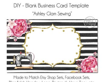 Floral Business Card Template - Ashley Glam Sewing - Made to Match Etsy Sets and Facebook Timeline Covers, Sewing Business Card