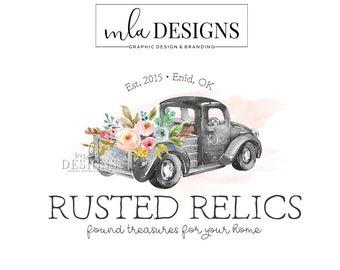 Vintage Truck Logo - Black White Truck Logo, Rustic Boutique Logo, Custom Logo, Boutique Floral Logo, Premade Logo, Custom Logo, Farm Logo