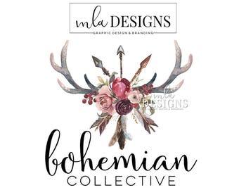 Antler Arrow Logo - Watercolor Logo, Boho Logo, Rustic Romantic Logo, Floral Logo, Premade Logo, Watercolour Logo, Bohemian Logo