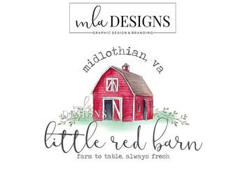 Red Barn Logo - Barn Logo, Premade Farm Logo, Country Logo, Watercolor Design Logo, Rustic Logo, Western Logo, Farmhouse Logo