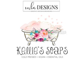 Bath Logo, Soap Maker Logo, Bath Bombs Logo Design, Boutique Logo, Spa Logo, Watercolor Logo, Bathtub Logo, Bath Bomb Boutique, Gold Foil