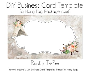 TeePee Business Card, DYI Blank Business Card Template, Rustic Business Card, Boho Business Card, Business Card Template, Made to Match