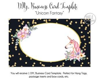 Unicorn Business Card Template - Unicorn Fantasy, Unicorn Template, Unicorn Hang Tag, Template, DIY Card, Watercolor Unicorn Card