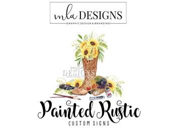 Painter Logo -Boot Logo, Artist Logo, Wood Sign Logo, Country Logo, Premade Watercolor Logo, Premade Logo, Custom Logo