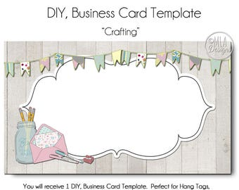 Crafting Business Card Template - Crafting Business Card - Made to Match Etsy Sets and Facebook  Covers, Made to Match Logo, DIY