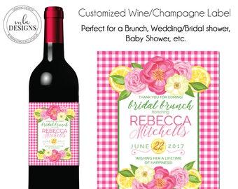 Bridal Shower Wine Label, Custom Wine Label, Liqour Label, Printable Wine Label, Wine Label, Brunch Wine Label, Birthday Champagne Label