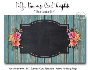 Blank Business Card Template - The Isabelle - Made to Match Etsy Sets and Facebook Timeline Covers, Teal Business Card, Teal Flowers