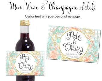 Small Wine Label, Custom Wine Label, Beach Wine Label, Wedding Printable Wine Label, Mini Wine Label, Mini Champagne Label, Wine Label,