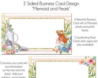 Mermaid Business Card, Mermaid and Pearls, DIY Business Cards, Instant Download, Pearls and Florals Card, Boutique Business Card, Mermaids