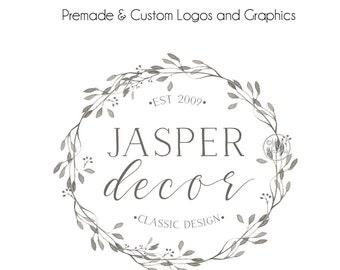 Wreath Round Logo, Wreath Logos for, Watercolor logo, Premade Logos, Custom Logos, Wreath Logo, Laurel Logo, Rustic Logo, Business Logo