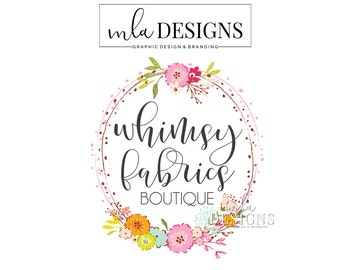 Floral Logo, Flower Logo, Boutique Logo, Shabby Country Logo Country Rustic Logo, Premade Logo Bohemian Logo Watercolor Logo, Boutique Logos
