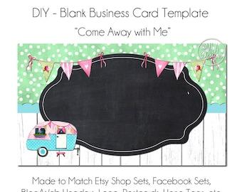 Caravan Business Card Template - Come Away with Me, Camper Business Card, Business Card, Hang Tag, Template, DIY Card, Retro Camper RV