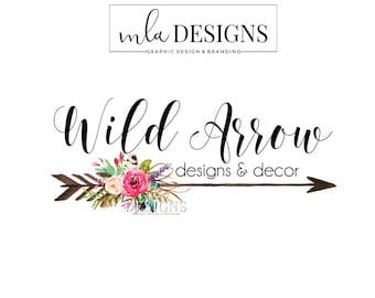 Arrow Logo, Flower Logo, Rustic Logo, Arrow Floral Logo, Premade Logo, Custom Logo Design, Bohemian Logo, Boho Logo, Boutique Branding