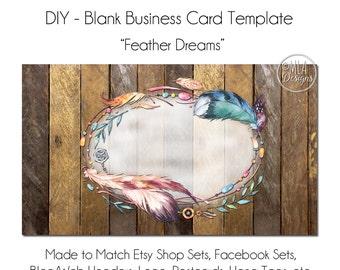 DYI Blank Business Card Template - Feather Dreams, Feather Business Card, Business Card, Hang Tag, Template, DIY Card, Dreamcatcher
