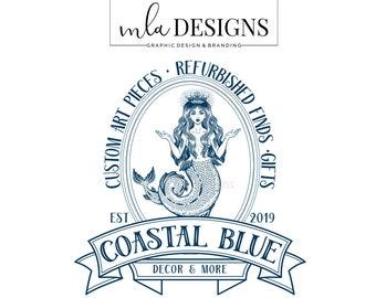 Mermaid Logo - Tropical Logo, Nautical Logo, Retro Mermaid Logo, Premade Logo, Boutique Logo, Logo Badge, Vintage Logo