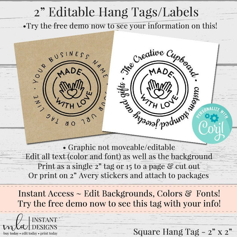 Package Labels Hang Tag Label DIY Sticker Editable Label DIY Product Label DIY Label Editable Tag Label 2 Inch Square Label Template