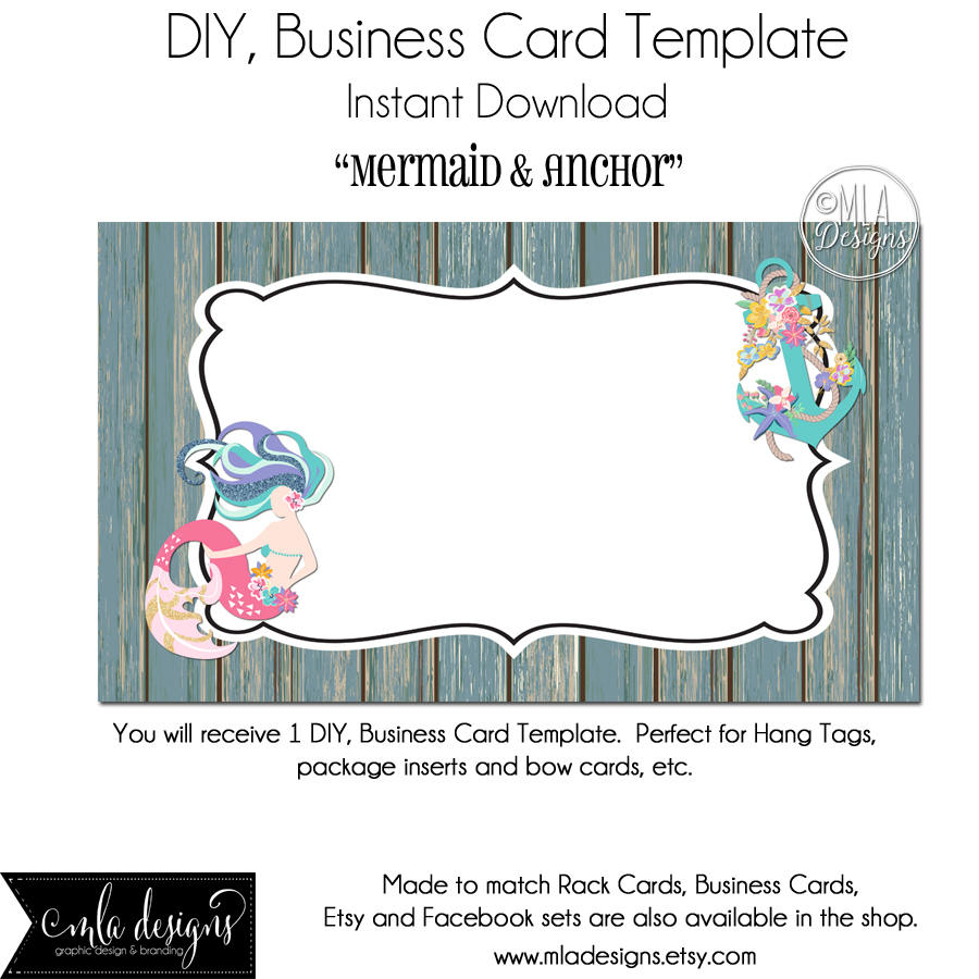 DYI Blank Business Card Template Mermaid & Anchor Made to
