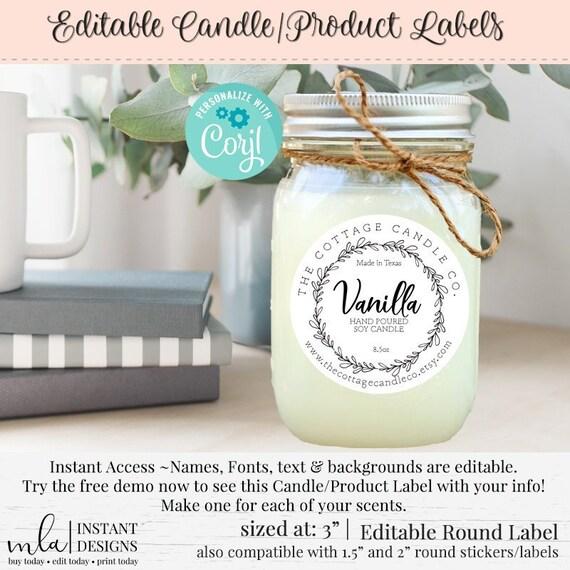 Bath Labels DIY Round Sticker Candle Label Editable Label DIY Round Label DIY Product Label Round Label Template Editable Round Label