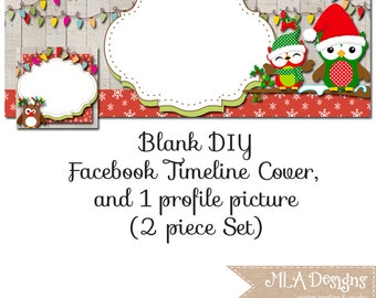 Owl Facebook Timeline Set - Owl Christmas - Customize for your Facebook Business or Personal Page, Facebook Banner, DIY Facebook Template