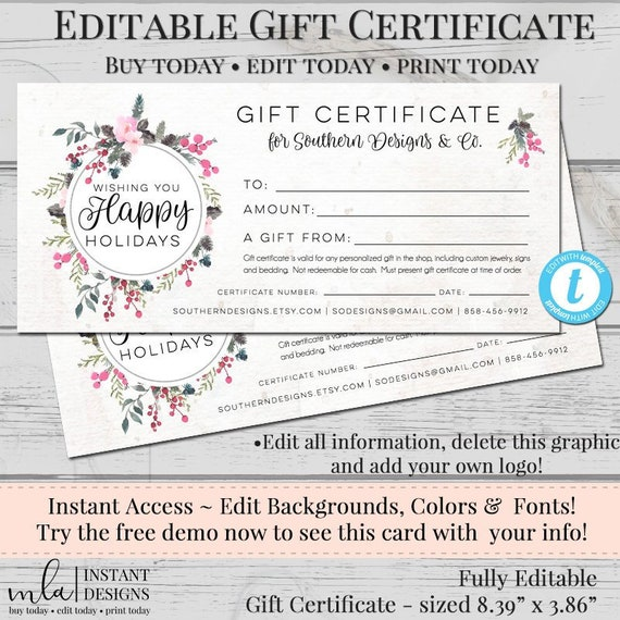 Editable Gift Certificate Template Diy Gift Certificate Store Voucher Printable Gift Cert Gift Certificate Blank Certificate Holiday
