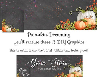 Pumpkin Fall DIY Facebook Set - Pumpkin Dreaming - Customize for your Facebook Business or Personal Page