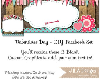 DIY Blank Facebook Timeline Set - Valentines Love - Customize for your Facebook Business or Personal Page