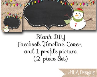 DIY Blank Facebook Timeline Set - Burlap Christmas Snowman - Customize for your Facebook Business or Personal Page