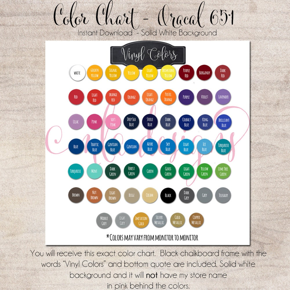 Color Chart Oracal 651 Vinyl Color Chart Use In Your Store Etsy