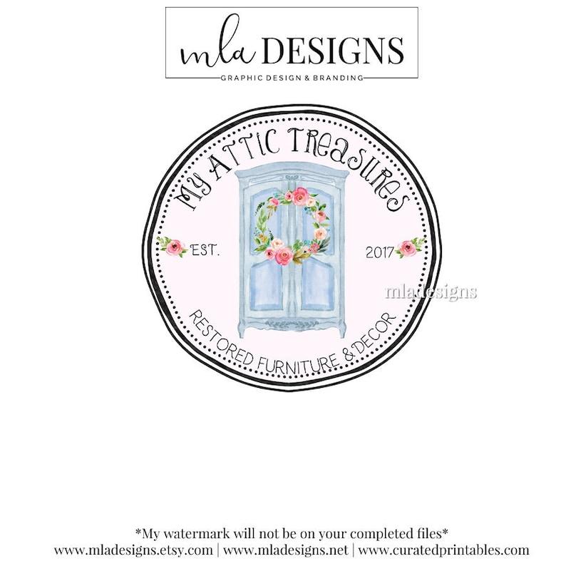 furniture logo round logo armoire logo boutique logo etsy. Black Bedroom Furniture Sets. Home Design Ideas