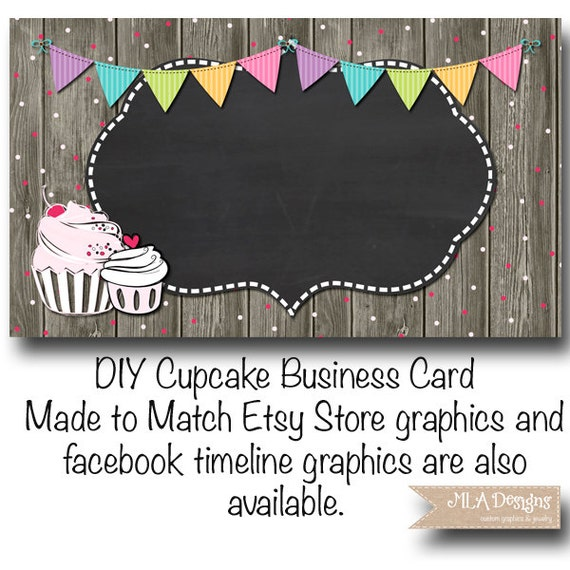 Cupcake business card template cupcake confetti fun made etsy accmission Choice Image