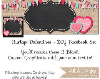 Valentines Facebook Timeline Set - Burlap Valentine's Day - Customize for your Facebook Business or Personal Page