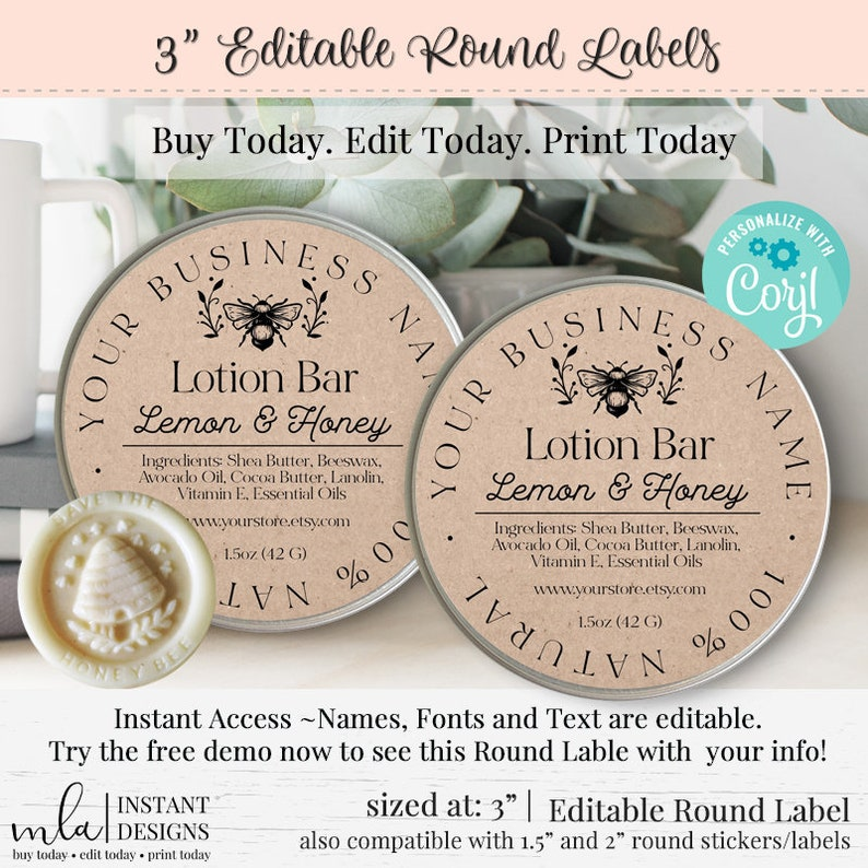 Editable Product Label, DIY Round Label, Round Label Template, DIY Lotion  Bar Label, DIY Product Label, Editable Jar Labels, 3