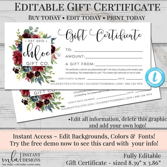 Editable Gift Certificate Template Diy Gift Certificate Etsy