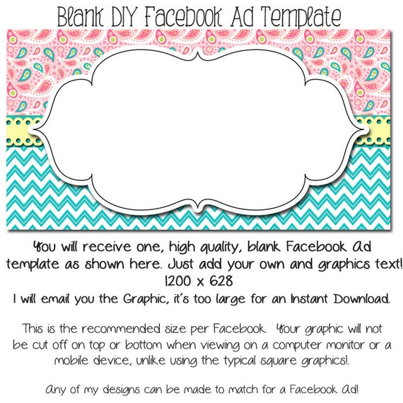Facebook Ad Template DIY Or Custom Text 1200 X 628 Graphic Etsy