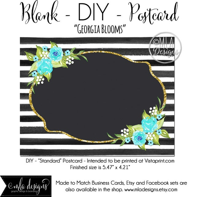 DIY Vistaprint Standard Size Postcard Georgia Blooms Blank Template Instant Download
