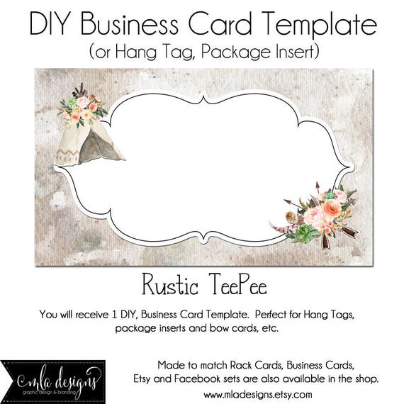 Teepee Business Card Dyi Blank Business Card Template Rustic Etsy