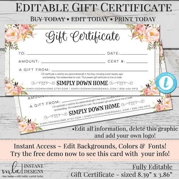 Editable Gift Certificate Template Diy Gift Certificate Store Voucher Printable Gift Cert Gift Certificate Blank Certificate Rustic