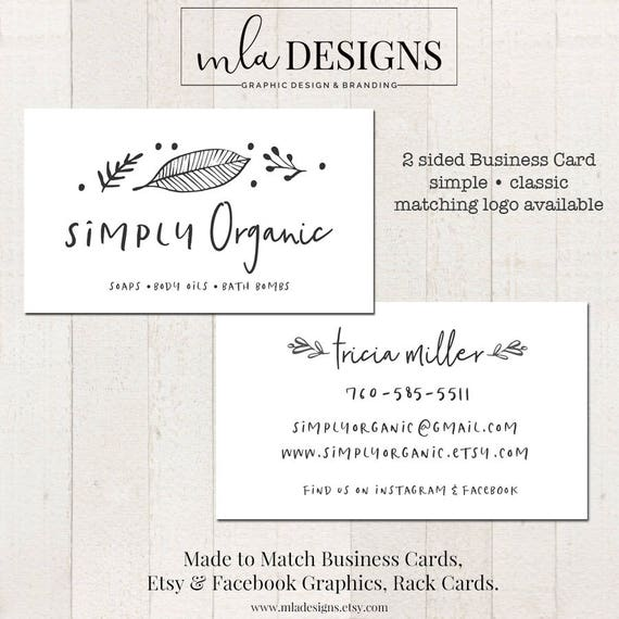Simple business card 2 sided business card double sided etsy image 0 colourmoves