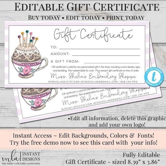 Editable Gift Certificate Template, DIY Gift Certificate, Store Voucher,  Printable Gift, Gift Certificate, Blank Certificate, Sewing