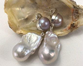 15x25mm Blanc Perle Baroque Boucles D/'oreilles 18k South Sea Paire énorme AAA Teardrop Dangle