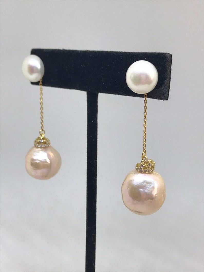 Peach Pearl Drop Earrings; Double Pearl Earrings; Peach Pearl Dangling Earrings with CZ; Wedding Peach Pearl Earrings; peach bridal Earrings