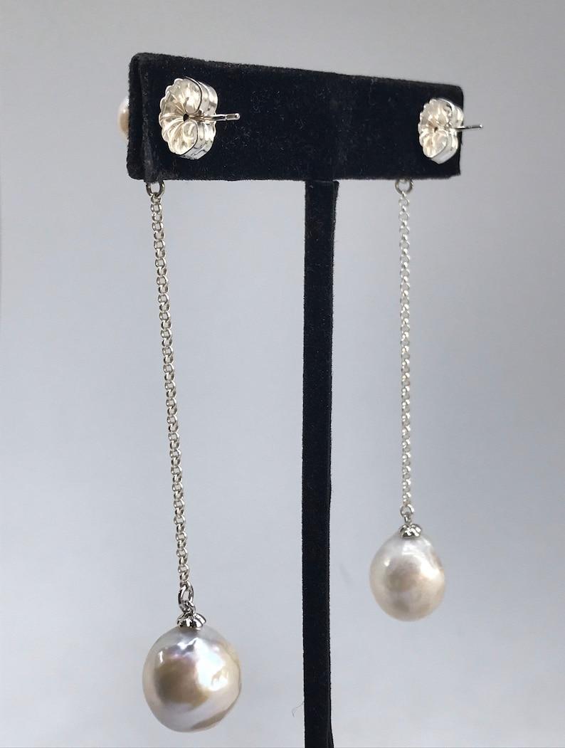 Baroque Pearl Drop Silver Earrings;  Edison Pearl Dangling Earrings; Double Pearl Earrings; small pearl stud; Bridal jewelry;
